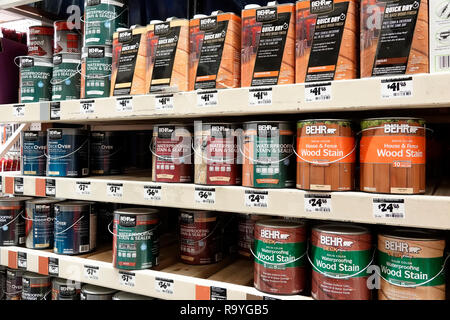 Miami Florida The Home Depot inside hardware big box store do it yourself shopping display sale shelves wood stain waterproofing sealer Behr - Stock Photo