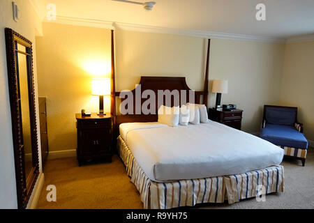 Fort Ft. Lauderdale Florida Weston Bonaventure Resort & Spa guest room king size bed bedroom - Stock Photo