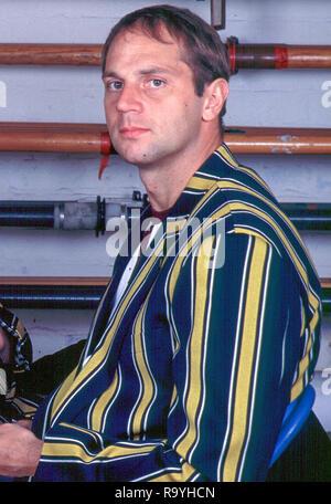Henley, Berkshire, England,  Vesper Rowing Vest and Stripped Blazer,  Steve Redgrave, Leander Club Boathouse,   [Mandatory Credit, Peter Spurrier/ Intersport Images] - Stock Photo