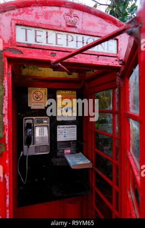 A Uk Red K6 Telephone Box with Telephone Directory included. - Stock Photo