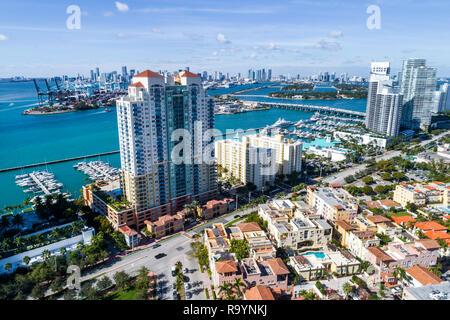 Miami Beach Florida aerial overhead view above bird's eye Icon South Beach Luxury Condos high rise condominium buildings Murano Grande at Portofino Th - Stock Photo