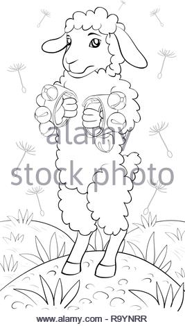 A cartoon playing sheep on the background  image for relaxing activity.A coloring book,page for children.Line art style illustration for print.Poster  - Stock Photo