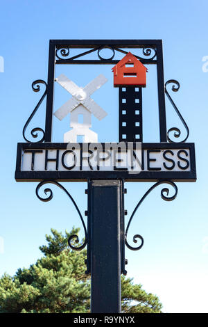 Village sign, The Meare, Thorpeness, Suffolk, England, United Kingdom - Stock Photo