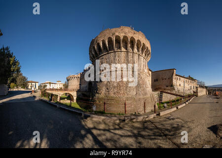 Porta Nuova (or Porta Salis) with the two Renaissance circular towers built in the XV-XVI century, is one of the gates to the medieval village of Coll - Stock Photo