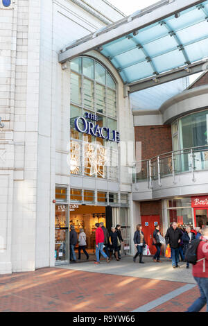 Oracle shopping centre in Reading, UK, entrance - Stock Photo