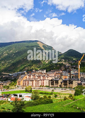 Andorra - a fragment of the city of Andorra la Vella and a view of the mountains. - Stock Photo