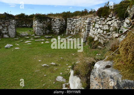 Chysauster.  Romano-British settlement,  occupied from middle Iron Age  until the end of the Roman occupation 4th century AD. Courtyard village. - Stock Photo