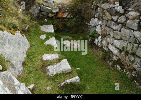 Chysauster.  Romano-British settlement,  occupied from middle Iron Age  until the end of the Roman occupation 4th century AD. The village of stone-wal - Stock Photo