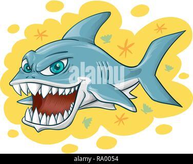 shark cartoon on yellow background . vector illustration - Stock Photo