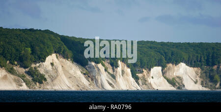 White cliffs of chalk formation at Ruegen Island coastline, Baltic Sea, Mecklenburg-Western Pomerania, Germany - Stock Photo