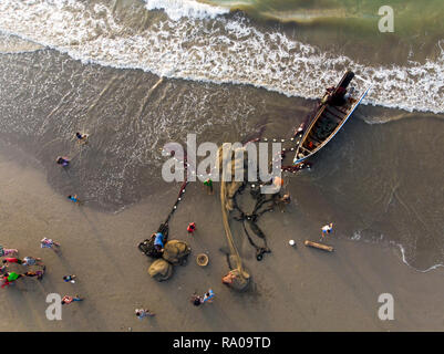 'Tarek Pukat' Aceh Traditional Fisherman in Aceh, Indonesia - Stock Photo