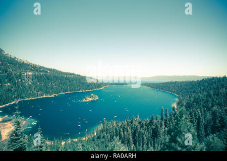 Emerald Bay Lake Tahoe California with a vintage tone effect - Stock Photo