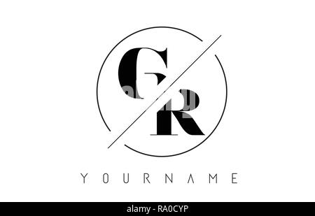 GR Letter Logo with Cutted and Intersected Design and Round Frame Vector Illustration - Stock Photo
