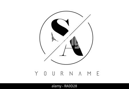 SA Letter Logo with Cutted and Intersected Design and Round Frame Vector Illustration - Stock Photo