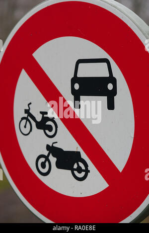 Road sign (prohibited to all vehicles). car, moped and motorcycle - Stock Photo