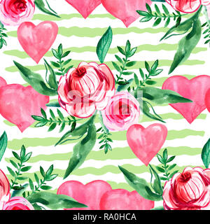 Watercolor seamless pattern with hearts and roses.Print on wallpaper, paper, packaging, textiles. Grunge watercolor texture  seamless pattern with han - Stock Photo