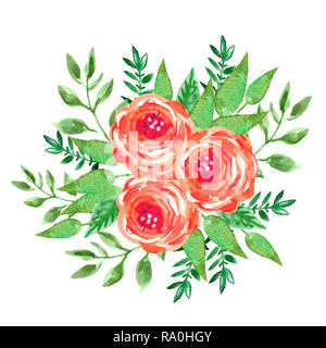Watercolor flowers bouquet. Red roses. Beautiful floral background of watercolor sketches for the design and decoration.  Vintage. - Stock Photo