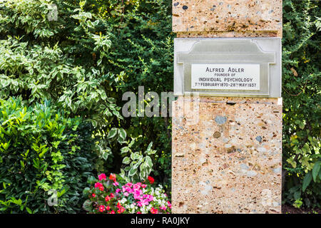 gravesite of austrian psychotherapist and founder of the school of individual psychology - Stock Photo