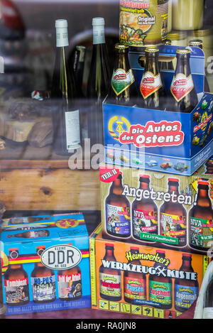 gdr nostalgia products in a shop window reminiscent of east german culture and institutions , east germany - Stock Photo
