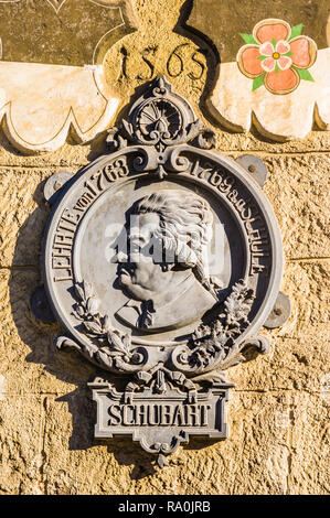 memorial plaque at the schubart house - Stock Photo