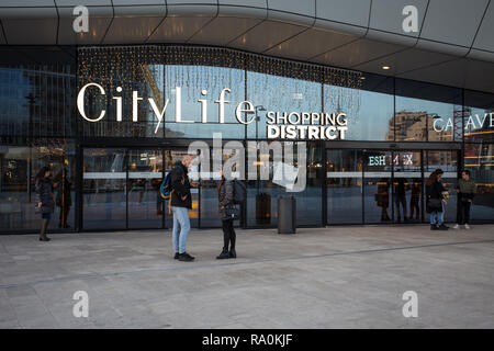 MILAN, ITALY, DECEMBER 5, 2018 - City Life Shopping district in 3 Torri Milan place, modern buildings and condos. - Stock Photo