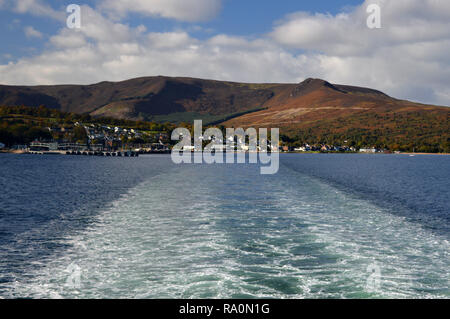 Views from ferry leaving Brodick harbour on Isle of Arran - Stock Photo