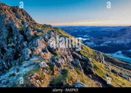 Grasmere and Loughrigg, seen from the summit of Helm Crag, Grasmere, Lake District, Cumbria - Stock Photo