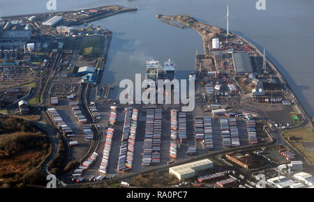 aerial view of Heysham Harbour, Lancashire, UK - Stock Photo