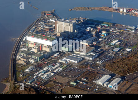 aerial view of Heysham Nuclear Power Station - Stock Photo