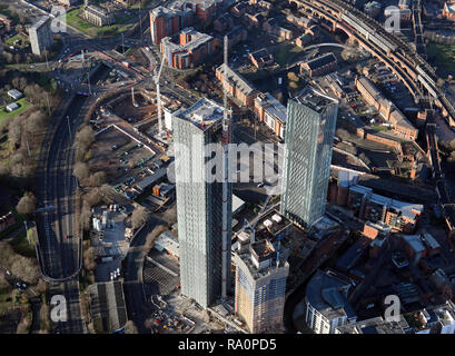 aerial view of a new two tower development on Owen Street, Manchester 15 - Stock Photo