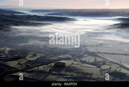 aerial view looking south of a misty valley at Skipton, North Yorkshire - Stock Photo