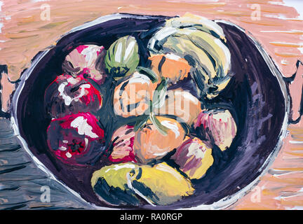 Oil paint of fruits and vegetables in a vessel Crete Greece Europe - Stock Photo