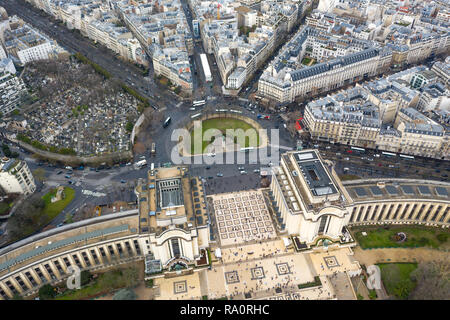 Aerial View of Paris City Streets feat. Place du Trocadero Square and Statue Equestre du Marechal Foch Landmark, Palais de Chaillot Museum in France - Stock Photo