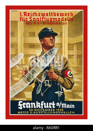 Pre-WW2 1938 Nazi German Reich Propaganda Poster promoting a competition to make an operational Glider Aircraft for the Fliegerkorps Flying Corps in Nazi Germany 1930's - Stock Photo