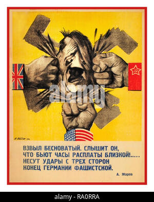Vintage WW2 1940's Russian Soviet USSR Propaganda Poster featuring caricature of Nazi Adolf Hitler being hit on all sides by fists bearing the flags of The Grand Alliance: United Kingdom United States and Soviet Russia - Stock Photo