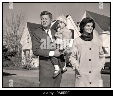 JOHN F KENNEDY JFK Nov 8th 1960, The Election Day Win.  Massachusetts Sen. John F. Kennedy defeated Vice President Richard M. Nixon for the presidency. Dem Presidential nominee Sen John F Kennedy wife Jacqueline and daughter Caroline outside their home Hyannis Port Mass. Nov 8th 1960 Election day Kennedy won 303 electoral votes to Nixons 219 - Stock Photo