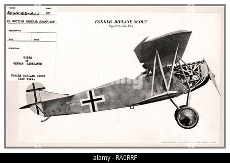 FOKKER BIPLANE SCOUT D7 GERMANY WW1 America War Department Technical Photo Drawing Types of German Airplanes. Fokker Biplane Scout Type D7. Side View November 1917 - Stock Photo