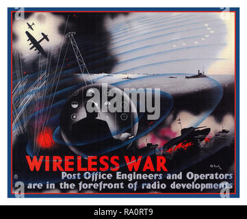 Vintage British WW2 Propaganda poster 1940's 'Wireless War: Post Office Engineers and Operators are in the forefront of radio development' British surveillance listening communications poster from 1943 World War II - Stock Photo