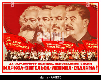 "Vintage Soviet USSR 1953 Russian propaganda poster featuring (L-R) Karl Marx, Friedrich Engels, Vladimir Lenin and Joseph Stalin  ""Long Live the Great Invincibles...!""   Banners of Marx, Engels, Lenin and Stalin (Moscow, 1953). Russian Soviet Political Ideology Propaganda Poster  The people of the Soviet Union are carrying banners in support of their government and leaders. The banners say, 'Forward to Communism,' 'Glory to the Party of Lenin and Stalin,' 'Work for Peace' and 'For the Happiness of the Peoples. - Stock Photo"