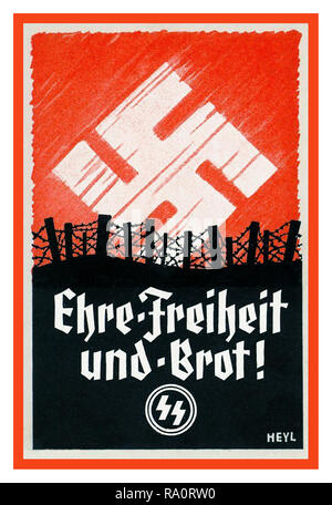 Vintage WW2 Nazi Germany SS Army Propaganda Recruitment Poster for the Waffen SS  'Honour Freedom and Bread' in a battlefield situation with Nazi Swastika as emblematic sunrise - Stock Photo