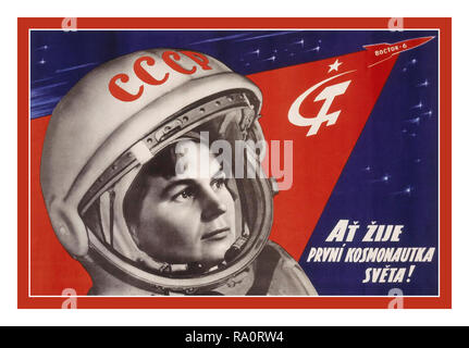 "Vintage 1960's Russian Soviet USSR Space Race Propaganda Poster  ""Glory to the first woman cosmonaut!"" June 16, 1963, at the age of 26, Valentina Tereshkova became the first woman to fly in space. Her three-day mission was the 12th human spaceflight in history, following several Russian Vostok and American Mercury flights.  Strapped to her ejection seat, Tereshkova rode inside the 7.5-foot-wide (2.3 meters) pressurized cabin of Vostok-6 in a 3 day space mission. - Stock Photo"