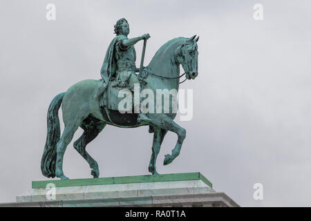 Copenhagen, Denmark- 30 August 2014: Equestrian statue of King Christian IX of Denmark is located at the Christiansborg Palace in Copenhagen, Denmark. - Stock Photo