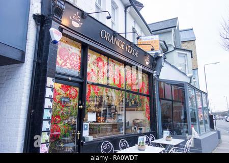 Orange Pekoe Cafe and Tea Rooms, White Hart Lane, Barnes, London, SW13, UK - Stock Photo