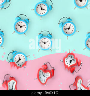 Time is running out concept shows blue alarm clocks that is dissolving down by melting in pastel pink liquid substance . Surreal style image - Stock Photo