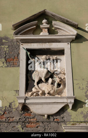 St George and the dragon, Venice, Italy. - Stock Photo