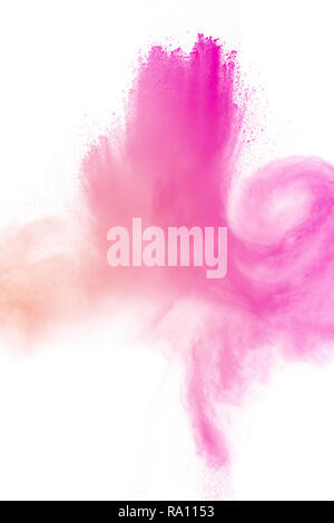 pink particles splatter on white background. Pink powder exploding. - Stock Photo
