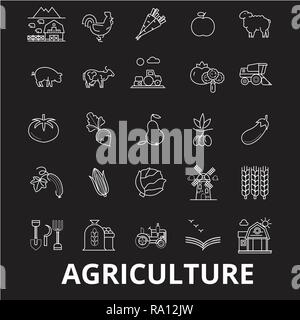 Agriculture editable line icons vector set on black background. Agriculture white outline illustrations, signs, symbols - Stock Photo