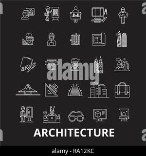 Architecture editable line icons vector set on black background. Architecture white outline illustrations, signs, symbols - Stock Photo