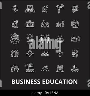 Business education editable line icons vector set on black background. Business education white outline illustrations, signs, symbols - Stock Photo
