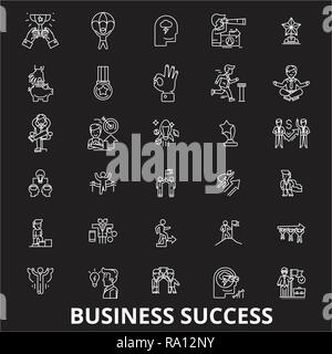 Business success editable line icons vector set on black background. Business success white outline illustrations, signs, symbols - Stock Photo